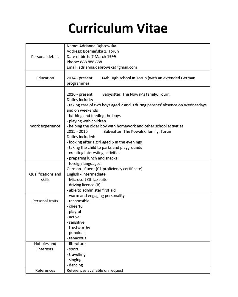 wzory cv po angielsku