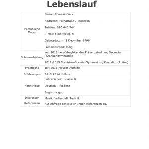 cv po niemiecku wzór