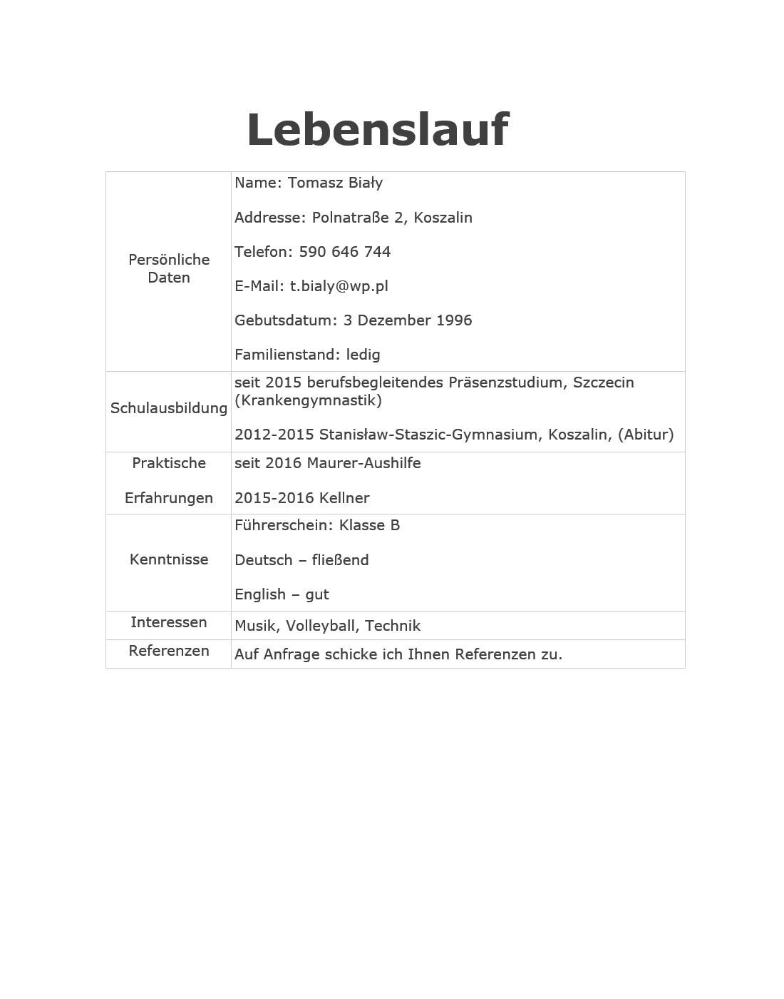 Wzory Cv Po Niemiecku 8 Przykładowych Cv Po Niemiecku Speakinpl