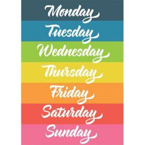 dni tygodnia po angielsku